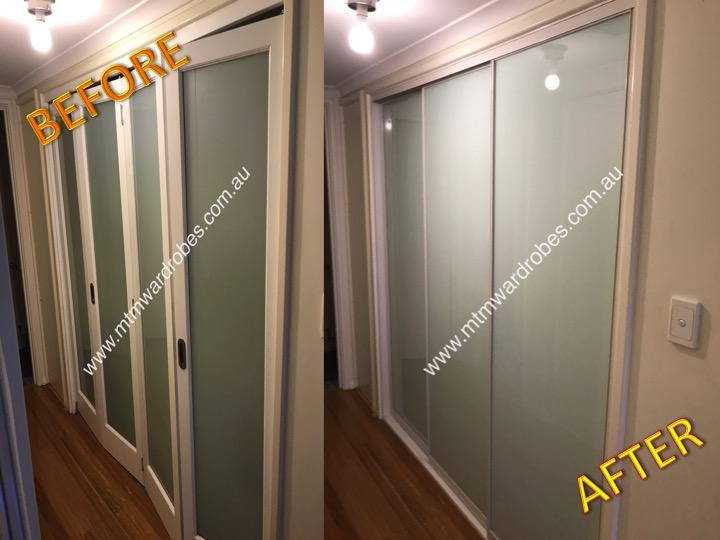 Bi-fold doors converted to sliding doors.